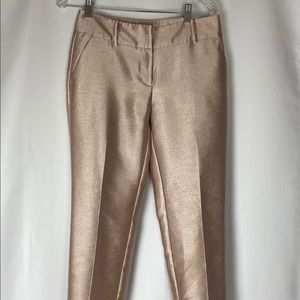 Ann Taylor Shiny Pink Ankle Pants, Size 0